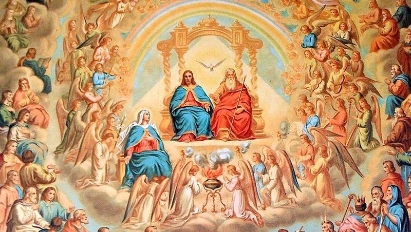 A corte celeste de Anjos e Santos em torno da Santíssima Trindade e de Nossa Senhora