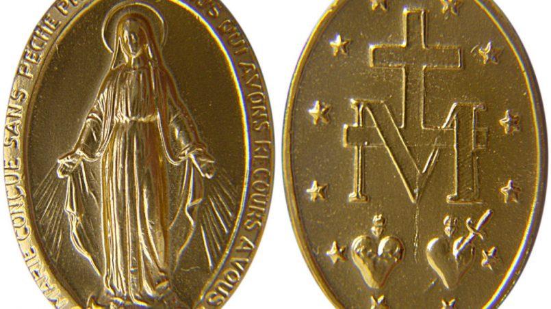 Medalha Milagrosa de metal dourado